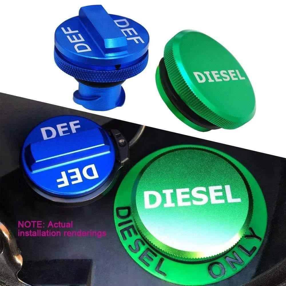 choolo Diesel Fuel Cap for Dodge Billet Aluminum Fuel Cap Combo Pack,Magnetic Ram Diesel Billet Aluminum Fuel Cap and DEF Cap Combo for 2013-2018 Dodge Ram Truck 1500 2500 3500 with Easy Grip Design
