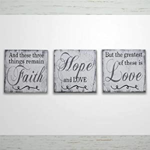 DONL9BAUER Wood Framed Plaque Set of 3 Inspirational Wall Decor - Christian Wall Art Faith Hope Love Mural Farmhouse Rustic Wood Sign Wall Decor Perfect for Bar Office & Home 4x4 inch