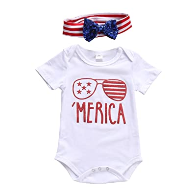 4th of July Toddler Baby Girl Short Sleeve Romper with American Flag Headband