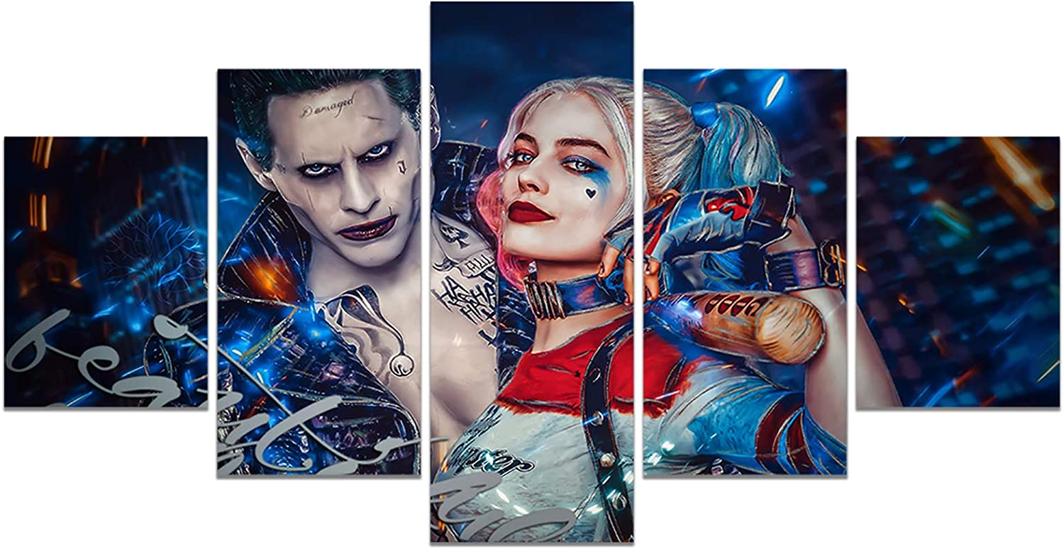 DC Movie Birds of Prey Poster Harley Quinn and The Joker Print on Canvas Wall Picture for Living Room Decor Wall Art (Unframed, Harley Quinn 2)