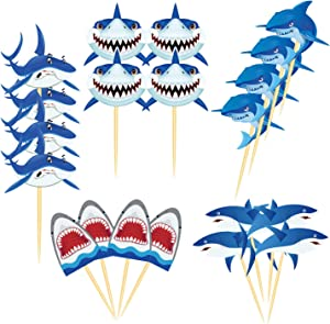 Youshe 20 Pcs Shark Cupcake Toppers Shark Themed Party Supplies Food Toppers Fruit Toppers Family Cupcake Picks for Birthday Party, Baby Shower,Picnic Wedding