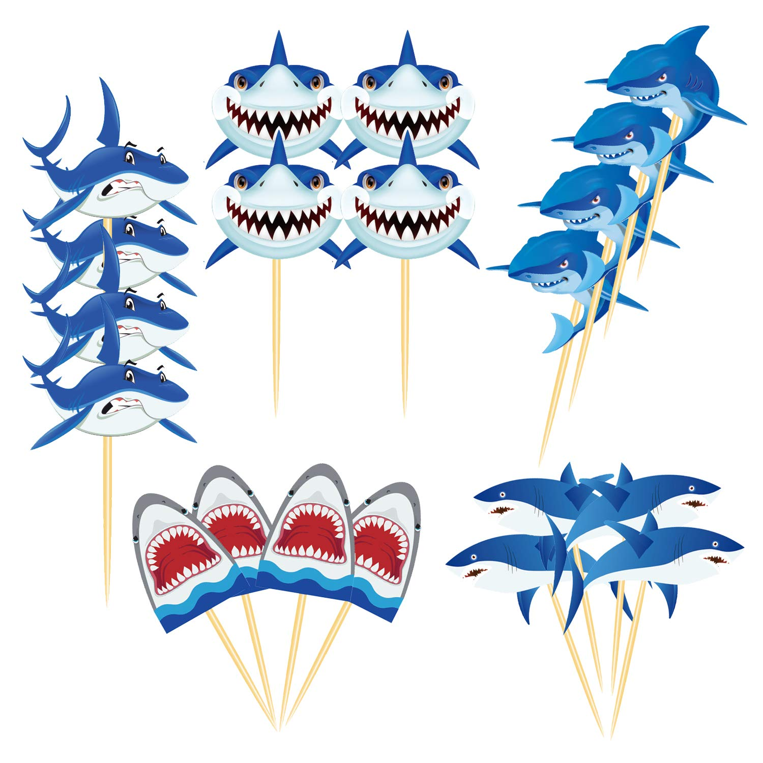 20 Pcs Shark Cupcake Toppers Shark Themed Party Supplies Food Toppers for Birthday Party, Baby Shower,Picnic Wedding