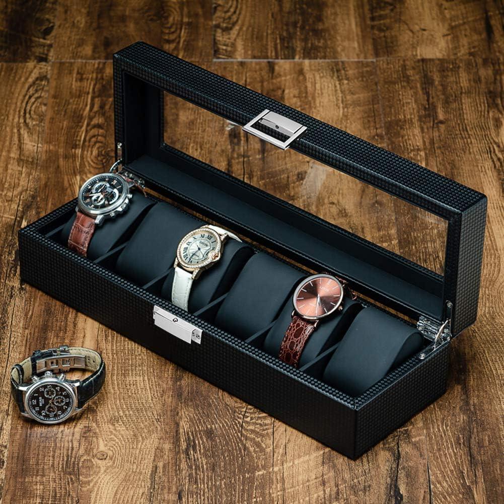 Findbetter 時計ケース 6本 腕時計収納ボックス 高級 時計 コレクションケース カーボンファイバー仕上げ 男女兼用 インタリア用 レザー製クッション