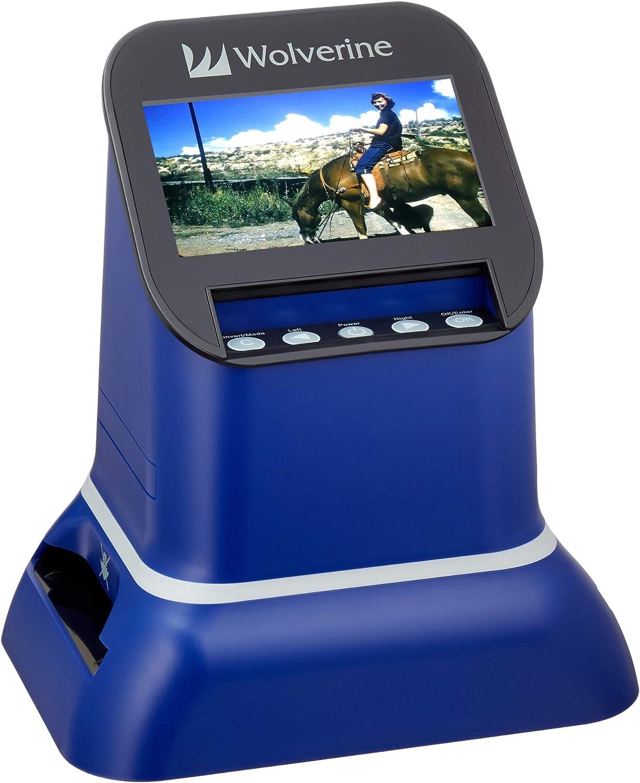 "Wolverine F2D Saturn Digital Film & Slide Scanner - Converts 120 Medium Format, 127 Film, Microfiche, 35mm Negatives & Slides to Digital JPEG - Large 4.3"" LCD w/HDMI Output (Blue)"