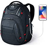 Swissdigital Laptop Backpack, Busniess Travel Polyester Backpack with USB Charging Port and RFID Protection Fits Under 15-Inch Laptop and Notebook for Man, Black …