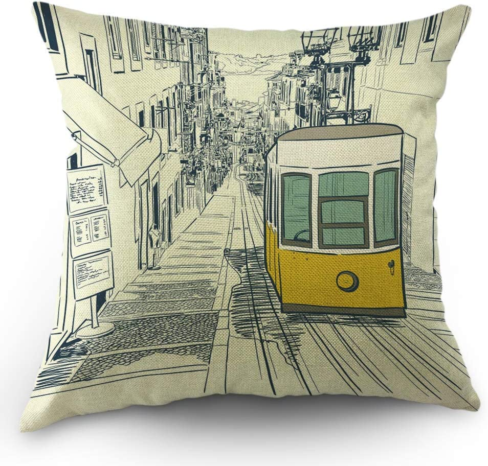 Jumei Street Pillows Decorative Throw Pillow Cover Sketch City Scenery Bus In Lisbon Town Pillow Case 18x18 Inch Cotton Linen Square Cushion Cover For Happy New Year Sofa Bed Home