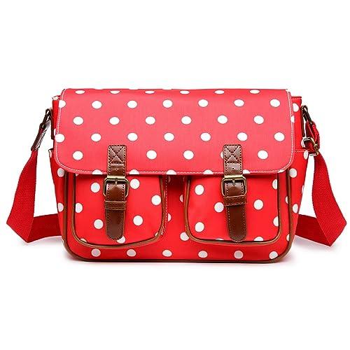 Miss Lulu Women s Oilcloth Satchel Bag Polka Dot Red L1107D2 RD ... 09043b2872622