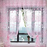 Small Flower Tulle Voile Door Window Curtain Pink Drape Panel Sheer Scarf Valances For Bedroom Bathroom Living Room Children's Room
