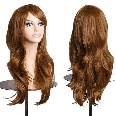 Falamka peluca larga onda para mujeres fiesta pelucas coloridas (café)