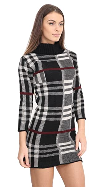 0e0c86ebdb4 Janisramone New Womens Longsleeve Checked Knit Cowl Polo Neck Bodycon Jumper  Tunic Dress Top at Amazon Women's Clothing store: