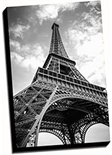 black white eiffel tower canvas wall art 24x36 stretched onto a 15 thick wood