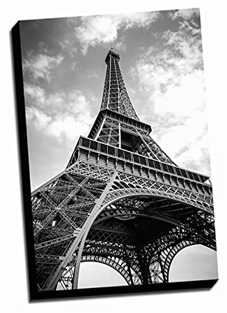 Black U0026 White Eiffel Tower Canvas Wall Art 24x36 Stretched Onto A 1.5u0026quot;  Thick Wood