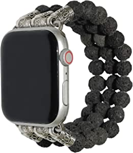 ZOOZOOT Lava Rock Earth Dalmatian Stone Watch Band 38mm, 40mm, 42mm, 44mm is Compatible with Apple Watch, Watch Accessories for Apple Watch, Iwatch Replacement Bracelet Strap for Mens Womens