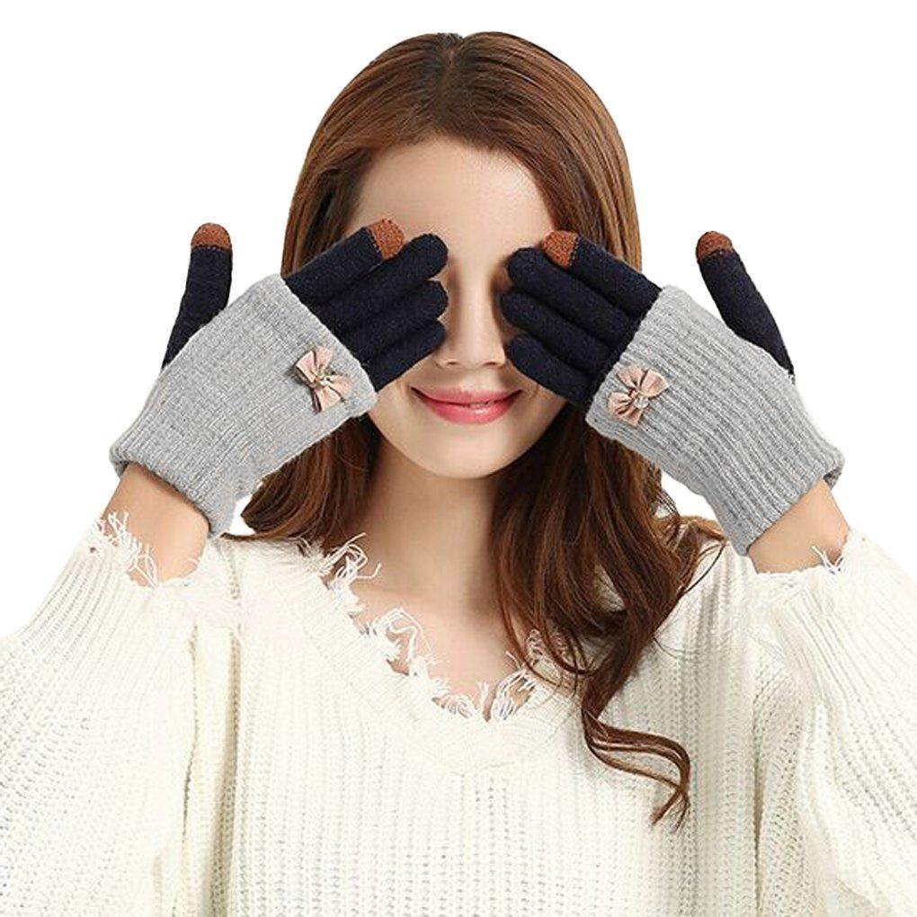 JIAHG Damen Touchscreen Handschuhe Fäustlinge Doppelte funktionale Fingerhandschuhe Strickhandschuhe Armstulpen Pulswärmer Herbst Winter Outdoor-Aktivitäten Bedarf
