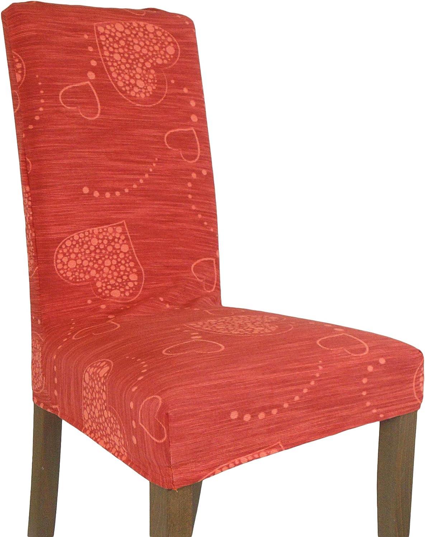 Brio Essense Sei Coprisedia Vesti Sedia millerighe Cuore Shabby per 6 sedie Vari Colori Arancione