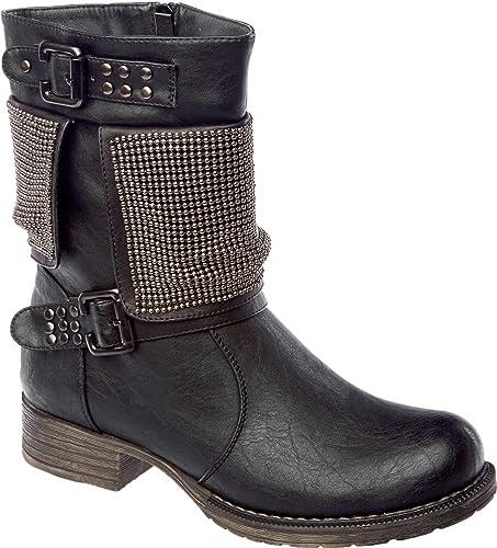 Womens Keddo Real Wool Fur Lined Black Detailed Trim Biker Boot