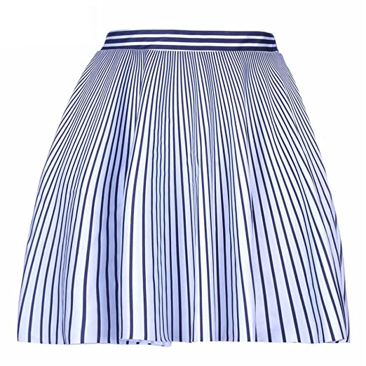 633bde2e33 Image Unavailable. Image not available for. Color: Women Fashion Black and White  Vertical Striped Short Skirt