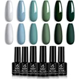 Beetles Blue Green Gel Nail Polish Set - 6 Colors Misty Gray Dark Green Gel Polish Kit Baby Blue Nail Gel Polish Soak…