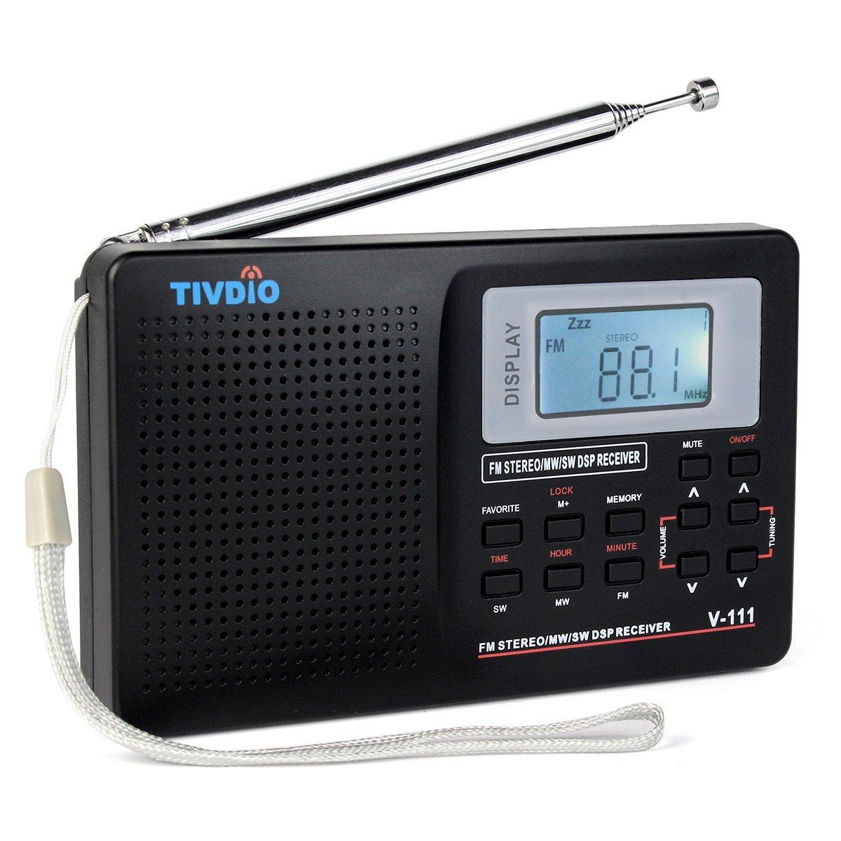 TIVDIO V-111 Portable AM FM Shortwave Radio Alarm Clock Battery Operated AA Battery with Back-light Earphone Jack Sleep Timer for Travel(Black)