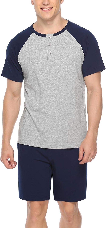 iClosam Mens Cotton Short Sleeve Pajama Sets Super Soft Sleepwear Lounge Set