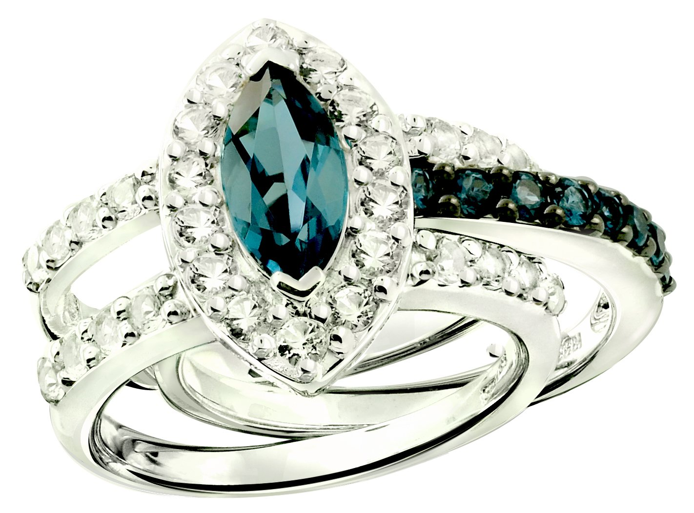 2.94 Cts London Blue Topaz, White Topaz Set of 2 Stack Rings in 925 Sterling Silver with Rhodium-Plated (6)