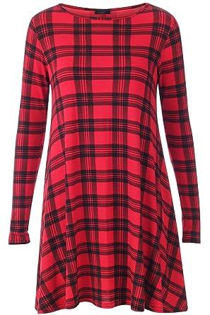8673aad9107 Femme robe trapèze à carreaux écossais rouge et noir à manche longue   Amazon.fr  Vêtements et accessoires