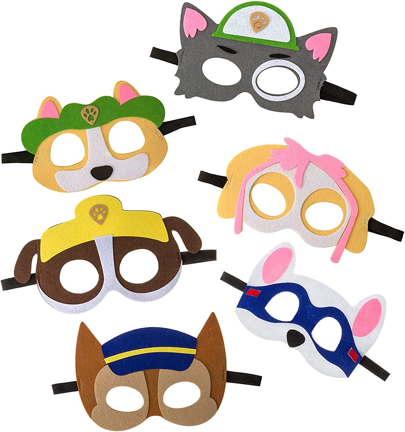 Multicolor 10 Pack Puppy Party Masks for Kids Party Cosplay Felt with Elastic Rope Party Favors Mask for Boys and Girls Birthday Party Supplies