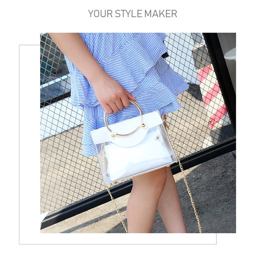 Clear Handbag 2 in 1 Clear Tote Transparent Top Ring Handle Handbag Small Chain Shoulder Bag