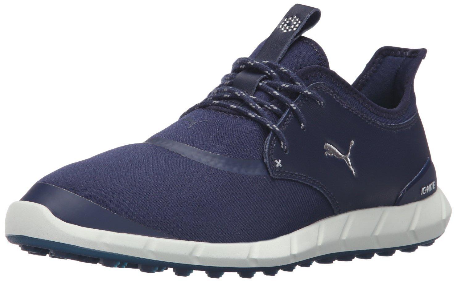 PUMA Men's Ignite Spikeless Sport Golf Shoe, Peacoat Silver White, 10.5 Medium US
