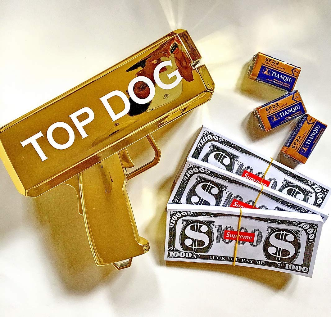 Rapid$Gun TOP-Dog Money Gun Chrome Gold Toy + 3 X 100 Prop Money + 3 X 9V Batteries | Real Money Dispenser | Dollar Shooter | Paper Money Spray (Chrome Gold+300+3)