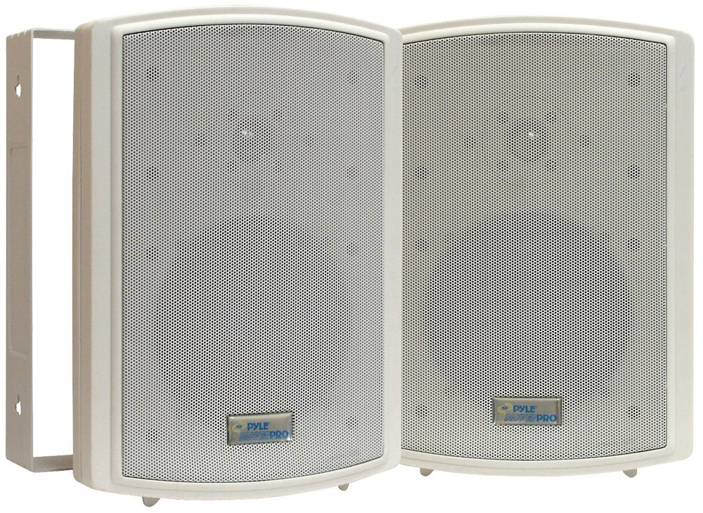 Dual Waterproof Outdoor Speaker System - 6.5 Inch Pair of Weatherproof Wall or Ceiling Mounted White Speakers w/Heavy Duty Grill, Universal Mount - For Use in the Pool, Patio or Indoor - Pyle PDWR63 by Pyle