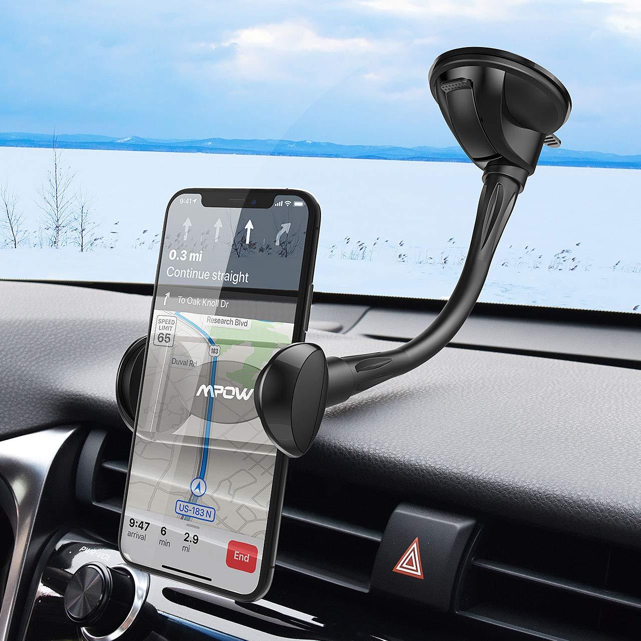 Mpow Soporte M/óvil Coche para Parabrisas Sujeta Movil Coche Moviles Brazo Largo y Ventosa Lavable Soporte Telefonos Moviles Coche Universal 4-6.5 para iPhone 11 Pro MAX XR 8 Galaxy S20 Huawei P30