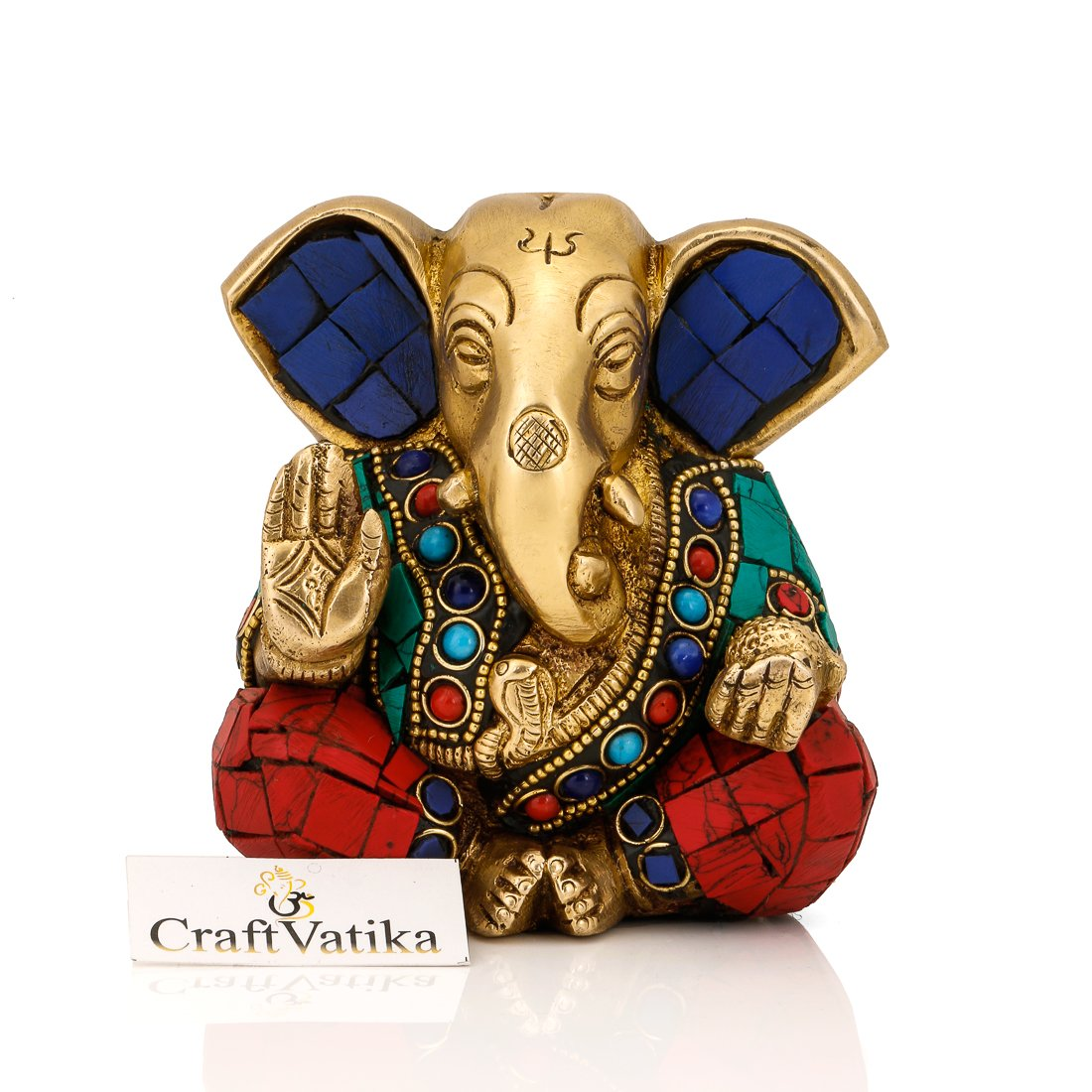 CraftVatika Ganesh Statue Hindu Lord Elephant God Turquoise Brass Sculpture Ganpati Idol Decor Gift