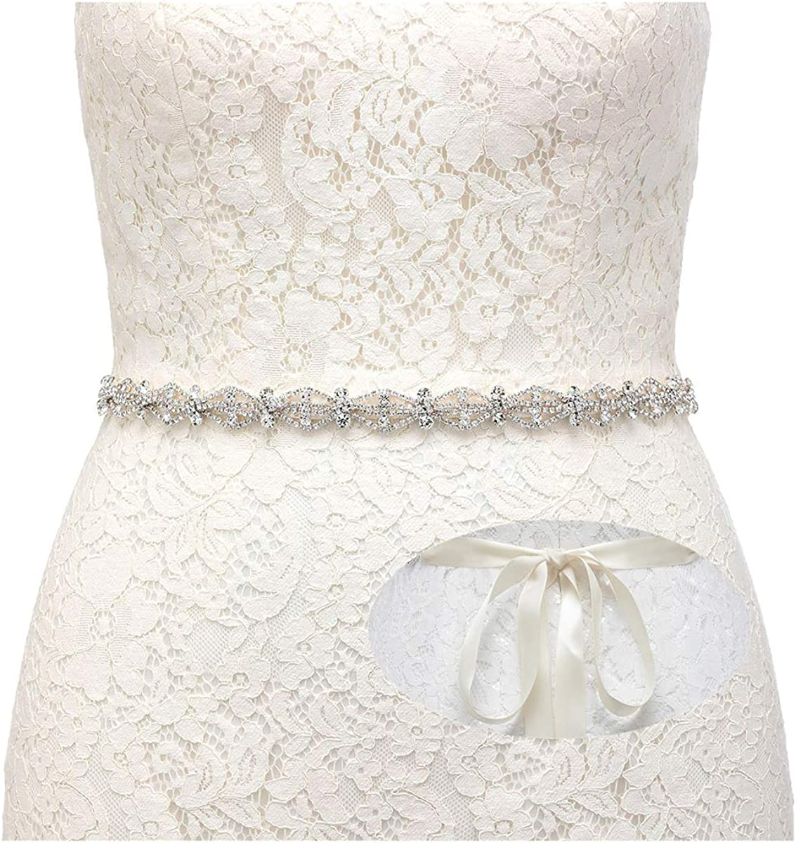 SWEETV Crystal Bridal Belt Rhinestone Wedding Dress Belt Sash Headband for Bride Bridesmaid