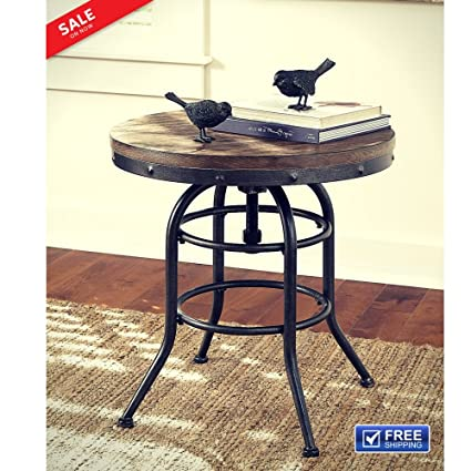 Farmhouse End Table Wood Metal Adjustable Height Circular Rustic Chic  Accent Table Living Room Foyer