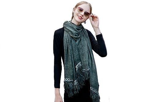 Mujer Color Sólido Bufanda Chales Estolas Wrap Con Borlas Y Encaje(Verde Oscuro)