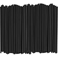 [1000 Bulk Pack] 5 Inch Plastic Sip Stirrers/Straws - Disposable Stir Sticks for Coffee & Cocktail - Black