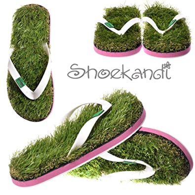 ea18053aae7a Kusa Womens Ladies Summer Funky Festival Grass Flip Flops - Green Grass and  White Pink