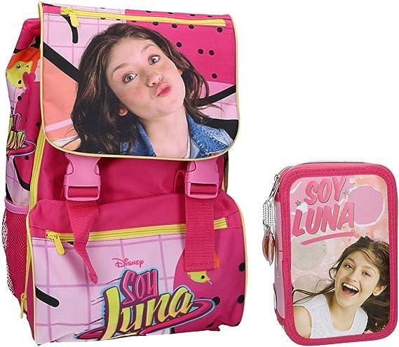 Mochila niño SOY LUNA bolsa de ocio escolar extensible rosa + estuche VZ687: Amazon.es: Ropa y accesorios