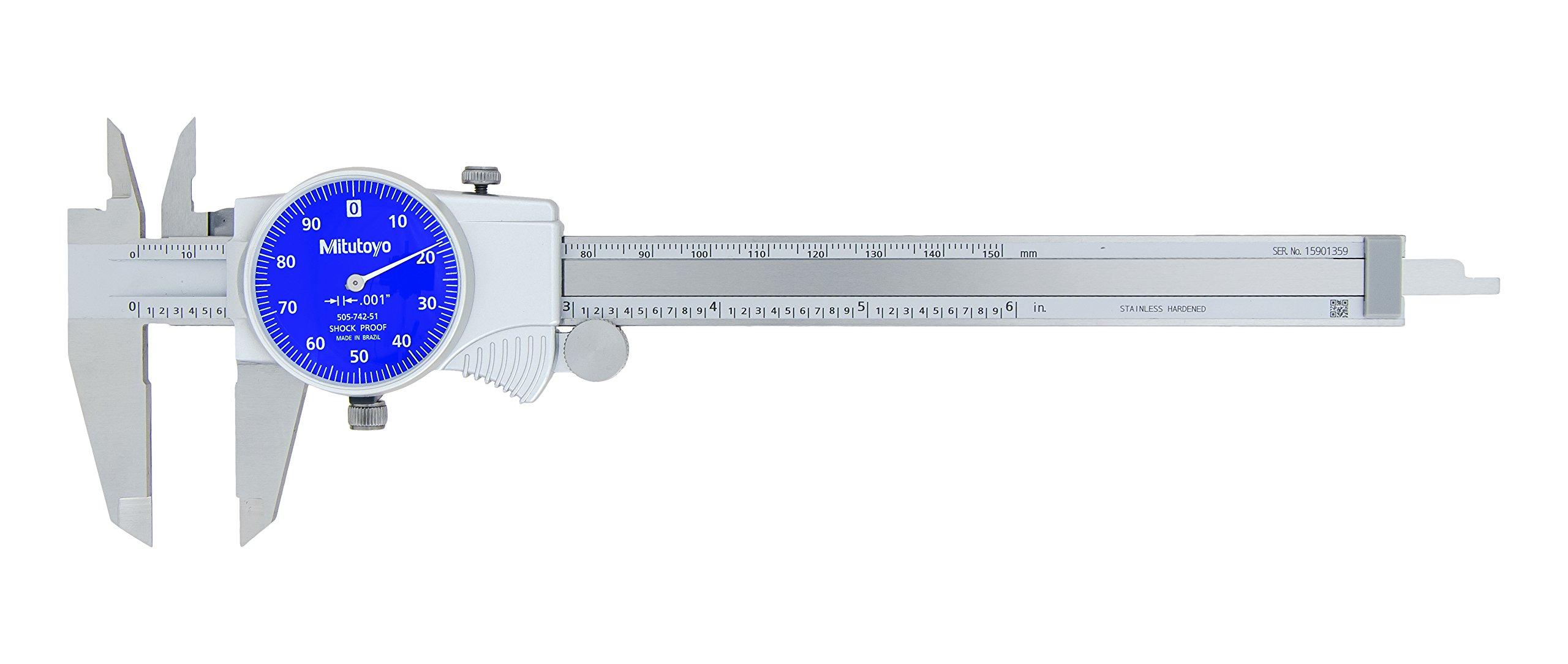 Mitutoyo 505-742-51 D6''TX-1 Dial Caliper, Blue Face, 0.1''/Rev, 0''-6'', 0.001''