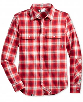 Amazon Com Lrg Mens Vice Flannel Long Sleeve Shirt Small Red Clothing