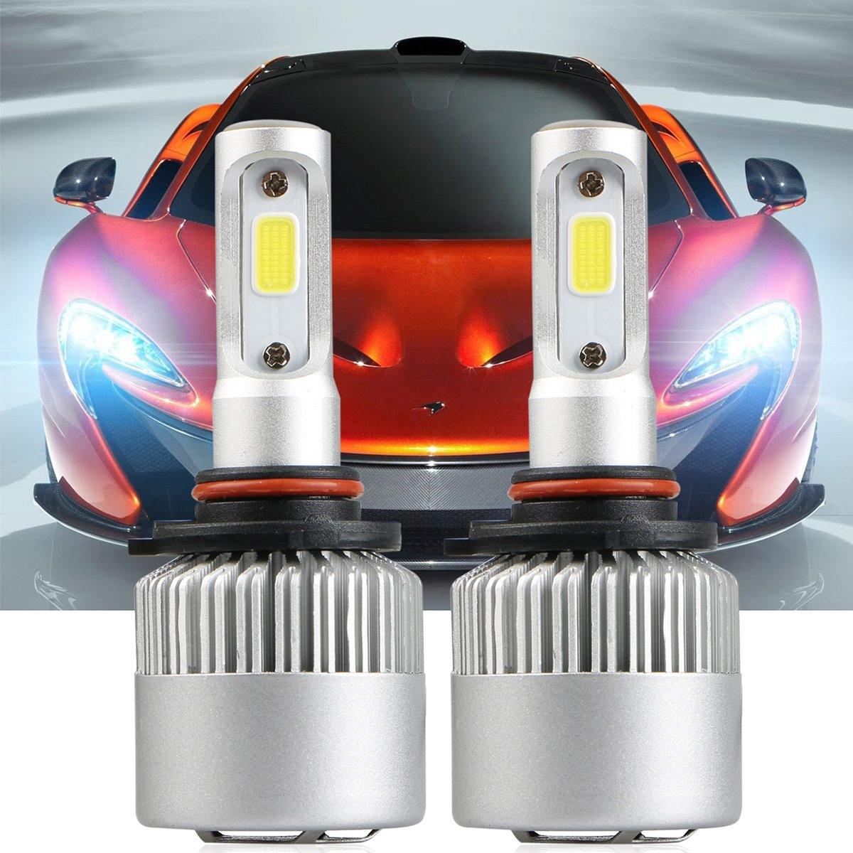 LinkStyle 2PCS LED Headlights 9005 HB3 Waterproof 36W 6500K 8000Lumens Super Bright Cool White COB Chips Fog Light Cree Bulb High Low Beam All-in-One Conversion Kit 9005 LED Headlight Bulbs 9005