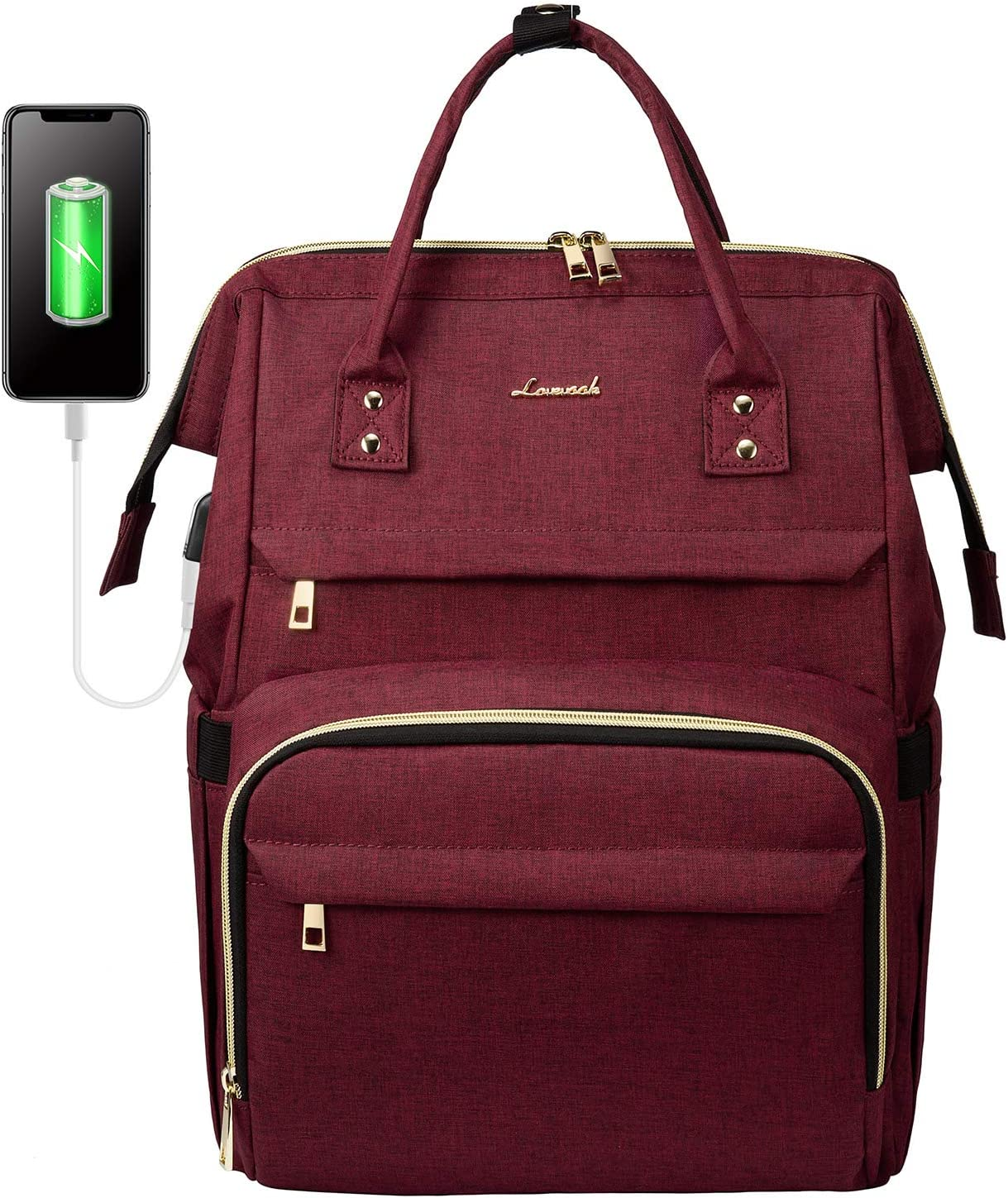 Laptop Backpack for Women Fashion Travel Bags Business Computer Purse Work Bag with USB Port, Wine Red
