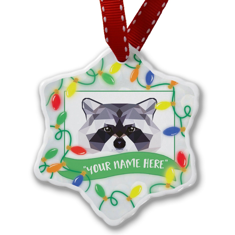 Personalized Name Christmas Ornament, Geometric Animal art Raccoon NEONBLOND
