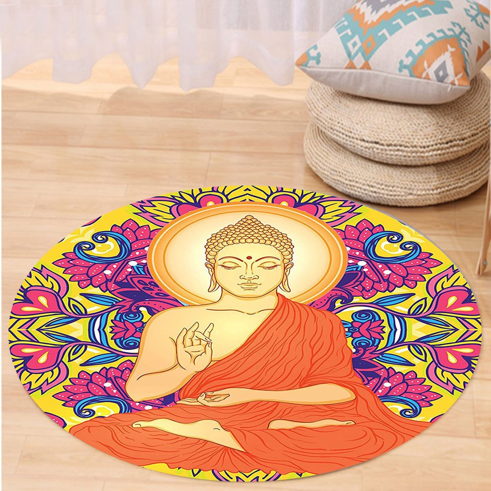 VROSELV Custom carpetBuddha Decor Collection Sitting Buddha on Ornate Mandala Round Pattern with Flowers and Love oteric Illustration Bedroom Living Room Dorm Multi Round 72 inches