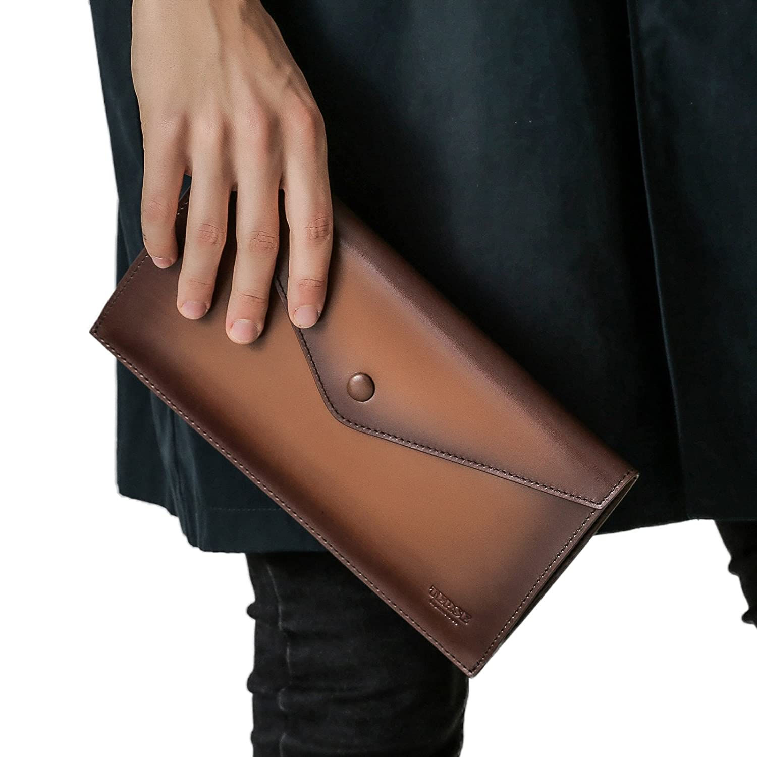 Italian Calfskin TERSE Mens Leather Wallet Clutch Purse Long Wallet Phone Case With Card Cash Holder