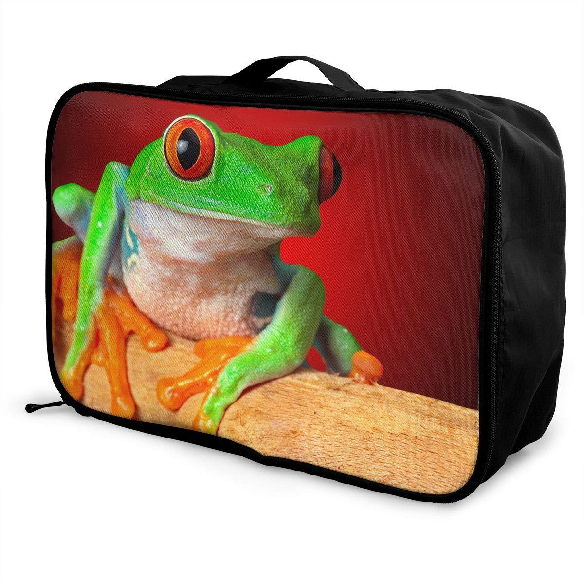 Travel Luggage Duffle Bag Lightweight Portable Handbag Green Frog Large Capacity Waterproof Foldable Storage Tote