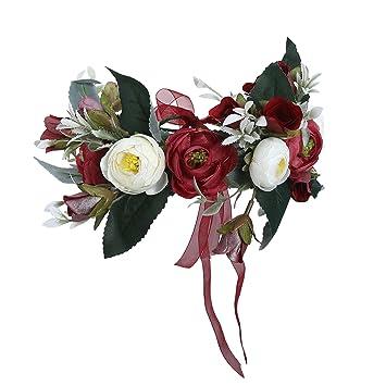 Amazon.com   Flower Crown Bohemian Floral Headdress - AWAYTR Female Flower  Headband Hair Wreath Wedding Hair Accessories (Dark red-A)   Beauty 0b9237f3795