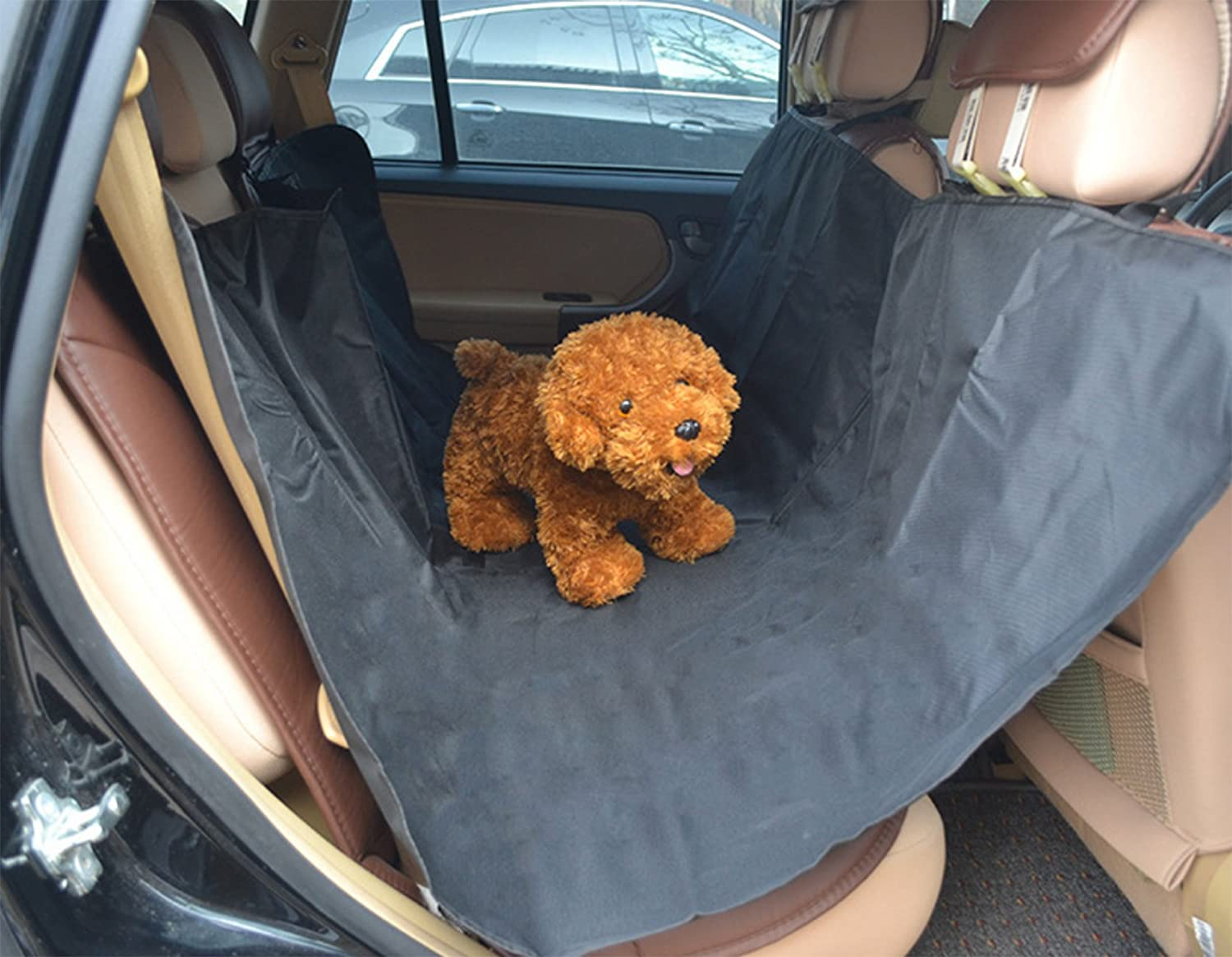 WSLCN Waterproof Dog Seat Covers Washable Travel Car Seat Cover Dog Hammock Car Bench Seat Cover Rear Seat Protector for Pets Size 1.4M*1.3M Black