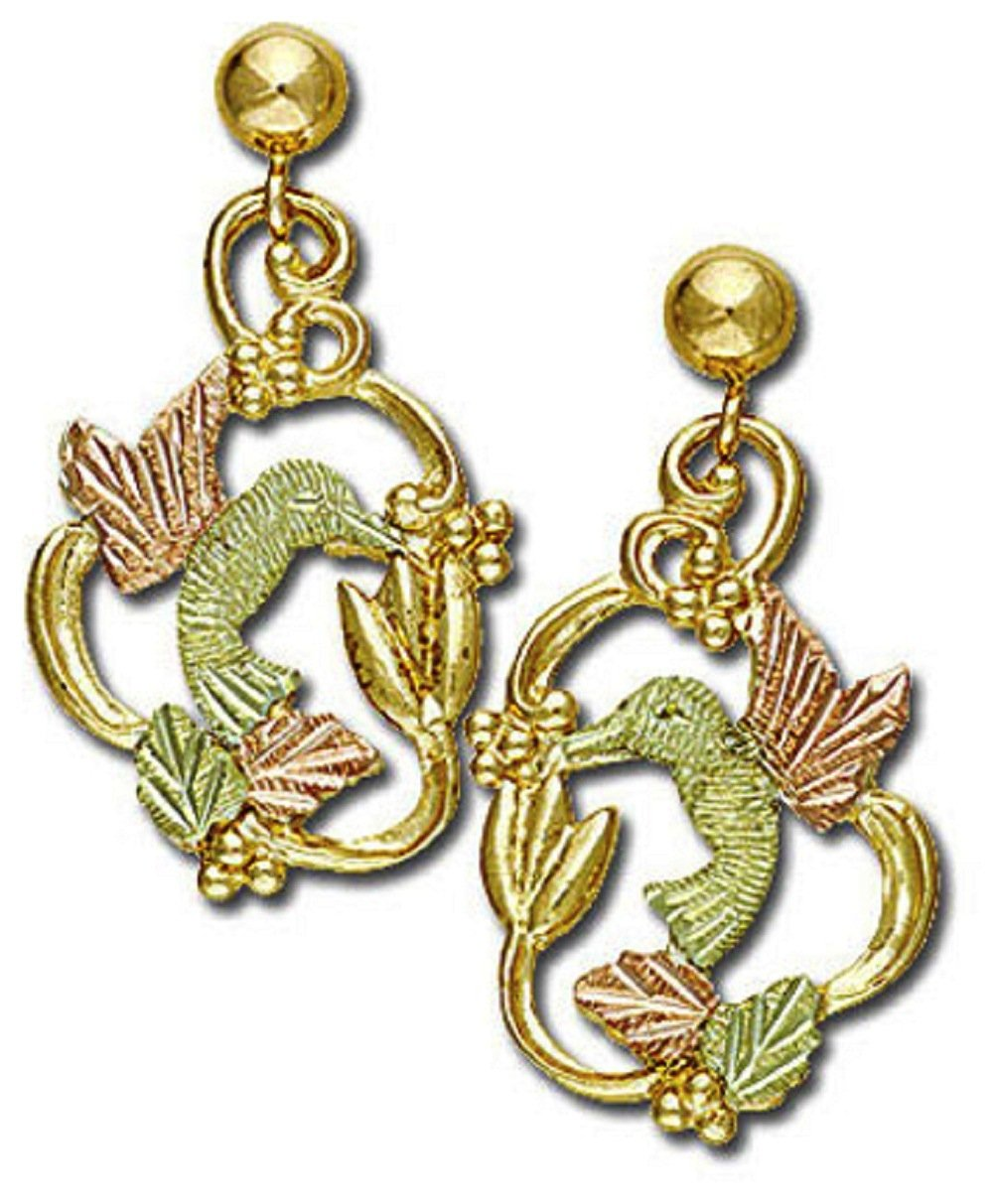Landstroms 10k Black Hills Gold Hummingbird Earrings, for Pierced Ears - 01593